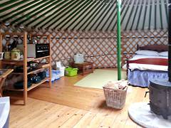 Inside a yurt, private kitchen